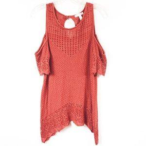 LC Lauren Conrad Open Knit Cold Shoulder Top